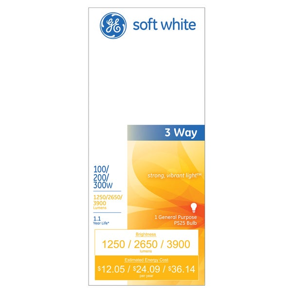 GE Lighting 41459 3 Way Soft White Mogul Incandescent Light Bulb