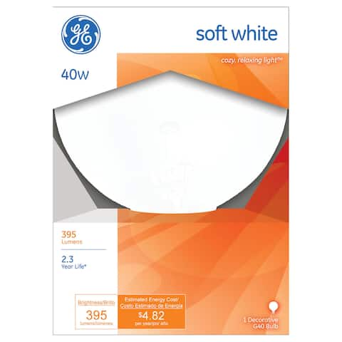 GE Lighting 36191 40 Watt White Vanity Globe Light Bulbs
