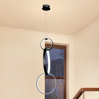Vonn Lighting Capella 34 x 16-inches LED Adjustable Hanging Pendant Light Multi-Ring Modern Pendant Lighting in Black