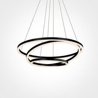 Vonn Lighting VMC32500BL Tania Trio 32-inches LED Adjustable Hanging Light Modern Black Circular Chandelier Lighting