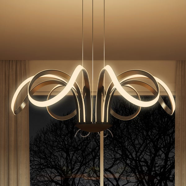 Vonn Lighting Capella 30-inches LED Adjustable Hanging Light Modern Flower-Pedal Chandelier ...