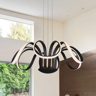 Vonn Lighting Capella 30-inches LED Adjustable Hanging Light Modern Flower-Pedal Chandelier Lighting in Black (Option: Modern)