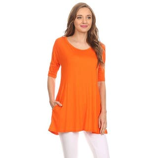 MOA Collection Women's Solid Tunic Shirt|https://ak1.ostkcdn.com/images/products/11638085/P18571424.jpg?impolicy=medium