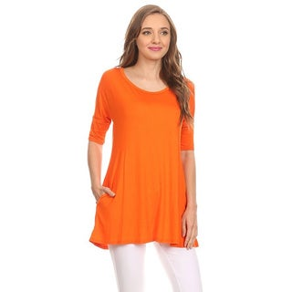 MOA Collection Women's Solid Tunic Shirt