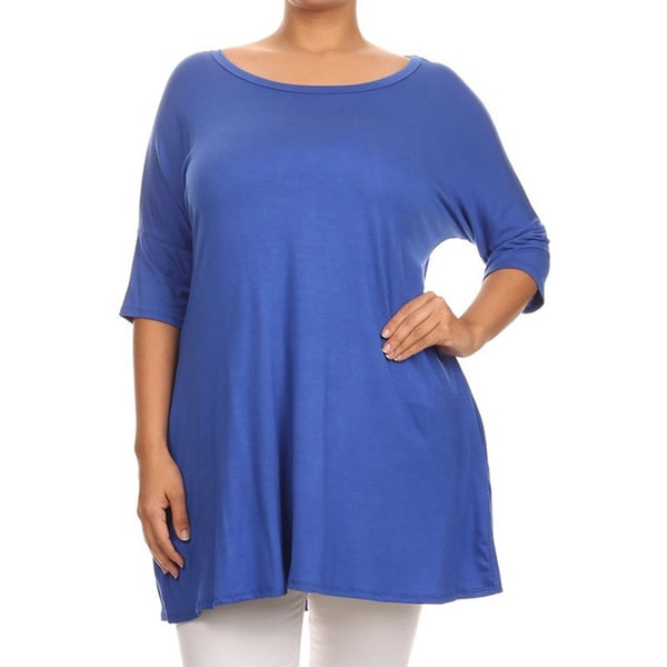 db06523e825 Shop MOA Collection Plus Size Women s Solid Shirt - On Sale - Free ...