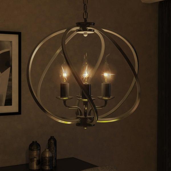 vonn lighting vtc31104bz sargas 16inch led hanging industrial globe bronze chandelier with led filament