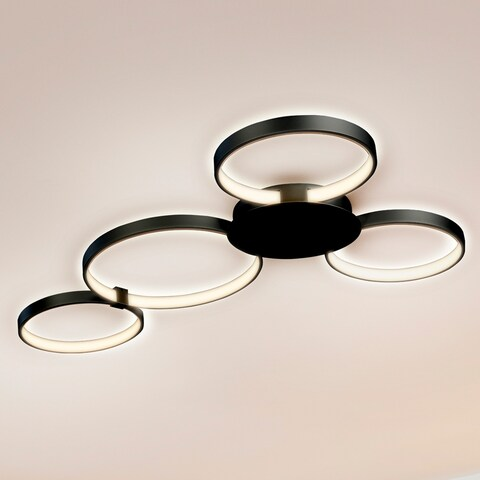 VONN Lighting VMCF41500BL Capella 43-inch LED Modern Multi-Ring Ceiling Fixture in Black