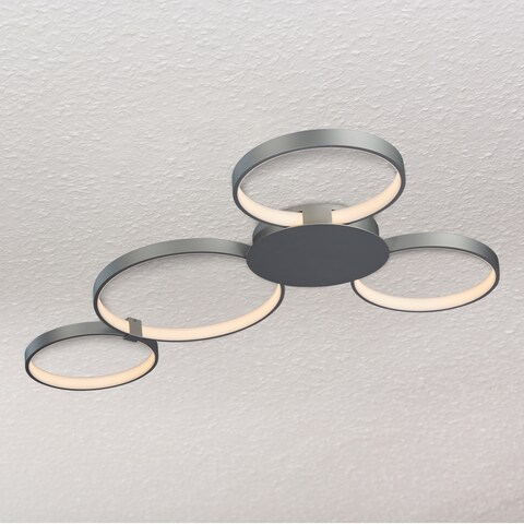 Vonn Lighting Capella 43-inches LED Ceiling Light Modern Multi-Ring Ceiling Fixture in Silver
