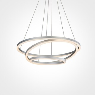 Vonn Lighting VMC32500AL Tania Trio 32-inches LED Adjustable Hanging Light Modern Silver Circular Chandelier Lighting