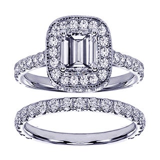 14k or 18k White Gold 2 2/5ct TDW Pave Set Diamond Encrusted Emerald-cut Engagement Ring Set