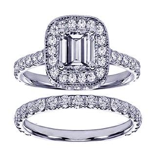 14k or 18k White Gold 2 2/5ct TDW Pave Set Diamond Encrusted Emerald-cut Engagement Ring Set