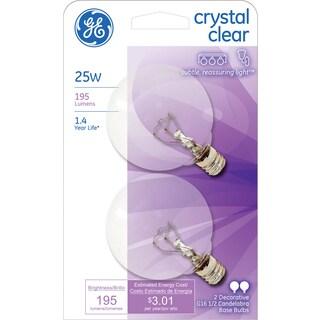 GE Lighting 17722 25 Watt Crystal Clear Vanity Globe Light Bulbs 2-count