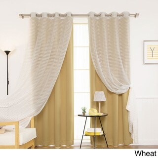 Aurora Home MIX & MATCH CURTAINS Blackout and Check Sheer 84-inch Silver Grommet 4-piece Curtain Panel Pair