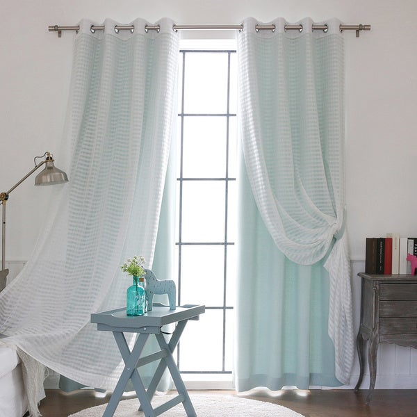 aurora home mix and match sheer silver grommet curtain panel 4