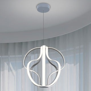 Vonn Lighting Capella 21-inches LED Adjustable Hanging Light Modern Globe Chandelier Lighting in Silver