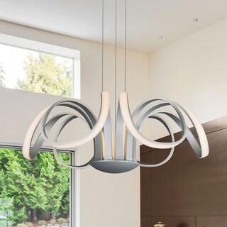VONN Lighting Capella VMC32420AL 30-inch LED Adjustable Hanging Modern Flower-pedal Silver Chandelier Lighting