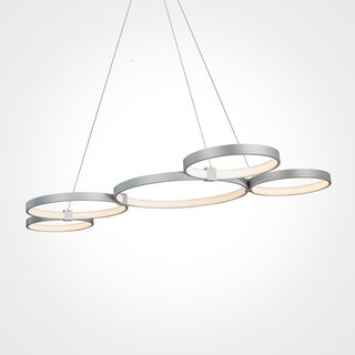 VONN Lighting Capella 50-inch LED Multi-ring Silver Adjustable Hanging Light, Model VMC32410AL
