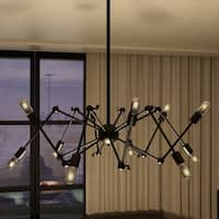 Vonn Lighting VMC31300BL Rana 39-inch Industrial Multi-Pivoting-Arm Chandelier with LED Filament Bulbs