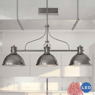 Vonn Lighting Dorado 53-inches Linear Hanging Industrial Chandelier Lighting with LED Filament Bulbs in Nickel