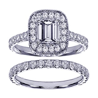 Platinum 2 2/5ct TDW Pave Set Diamond Encrusted Emerald-cut Engagement Ring Set