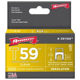 "Arrow Fastener 591189 5/16"" x 5/16"" Clear T59 Staples"