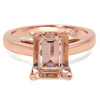 Noori 14k Rose Gold Morganite Solitaire Emerald-cut Engagement Ring