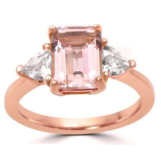 Noori 14k Rose Gold Morganite and White Sapphire Engagement Ring