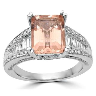 Noori 18k White Gold 2 3/4ct TGW Morganite and 3/4ct TDW Diamond Engagement Ring (G-H, SI1-SI2)