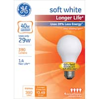 GE Lighting 70287 40 Watt Soft White A19 Dimmable Halogen Bulb 4-count