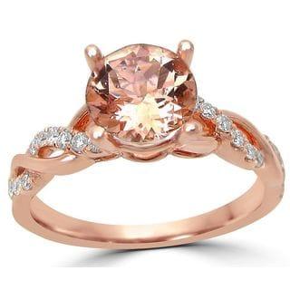 Noori 14k Rose Gold 1/5ct TDW Diamond and Morganite Engagement Ring (G-H, SI1-SI2)
