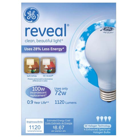 GE Lighting 67774 72 Watt Soft White Reveal Halogen Light Bulb Pack 4-count