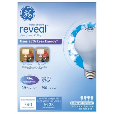 GE Lighting 67773 53 Watt Soft White Reveal Halogen Light Bulb Pack 4-count
