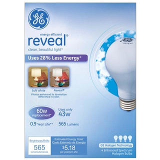 GE Lighting 67770 43 Watt Soft White Reveal Halogen Light Bulb Pack 4-count