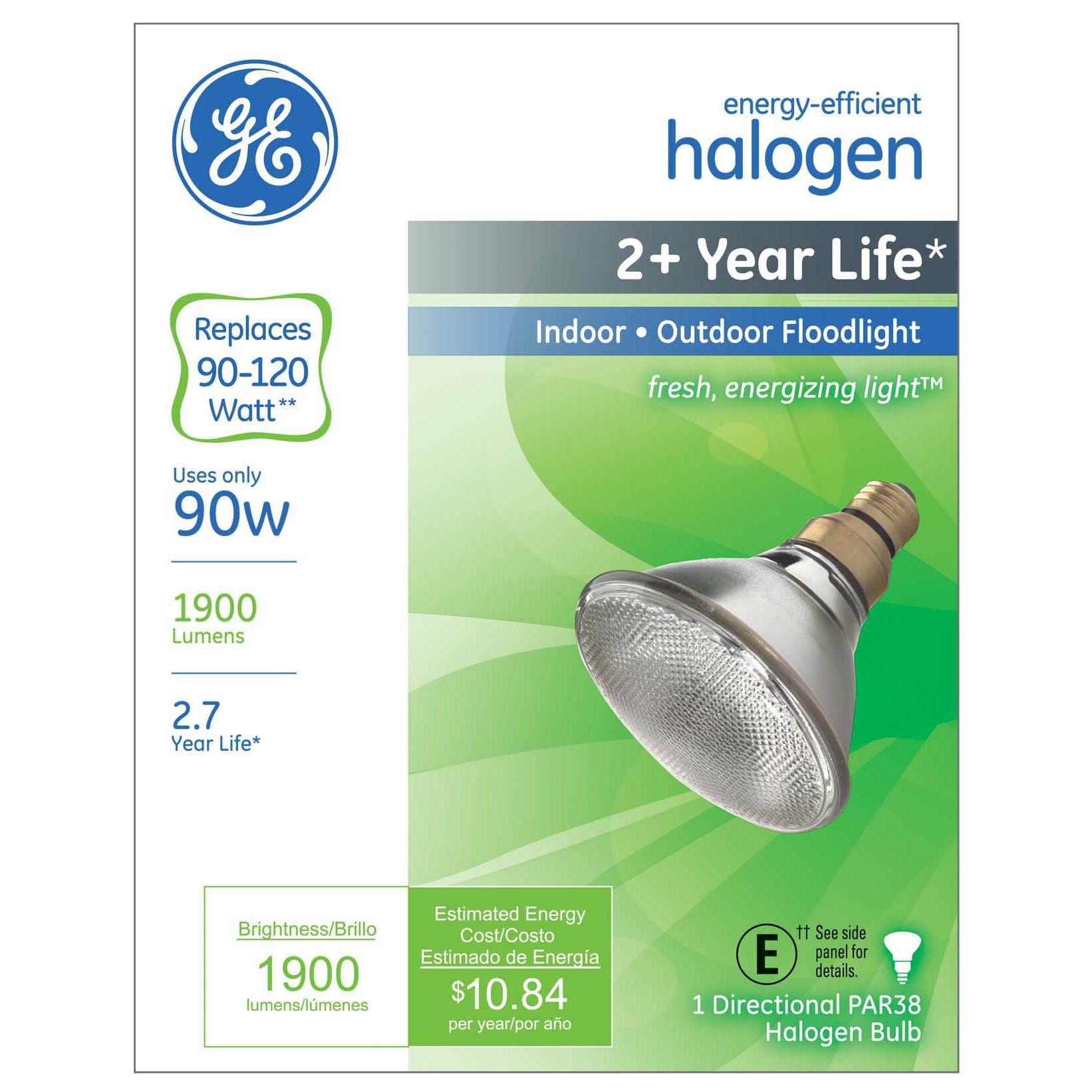 GE Halogen Light Bulb 90 watts 1900 lumens Floodlight PAR...
