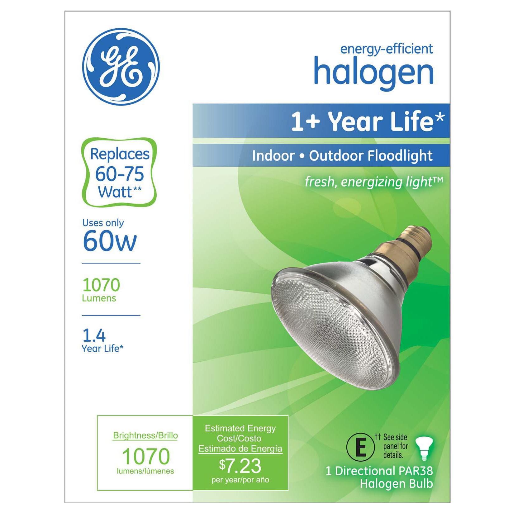 GE Halogen Light Bulb 60 watts 1070 lumens Floodlight PAR...