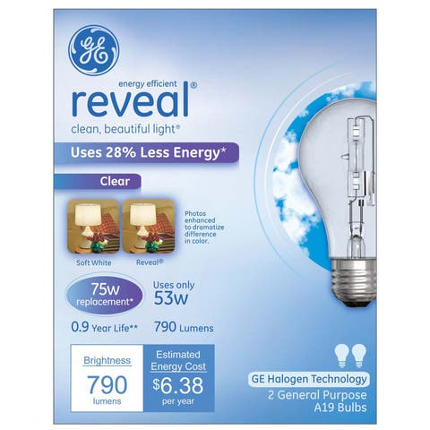 GE reveal Halogen Light Bulb 53 watts 790 lumens A-Line A19 Medium Base (E26) Clear 2 pk