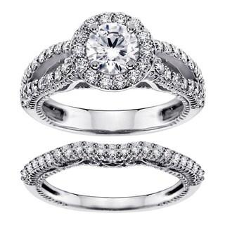 Platinum 2ct TDW Halo Brilliant-cut Diamond Engagement Bridal Set