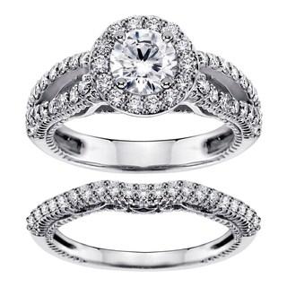 Platinum 2 1/4ct TDW Halo Brilliant-cut Diamond Engagement Bridal Set