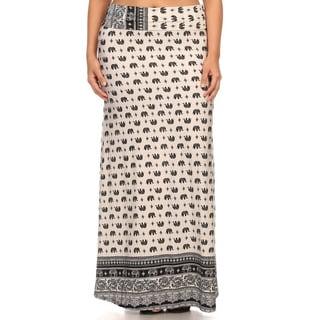 MOA Collection Plus Size Elephant Maxi Skirt