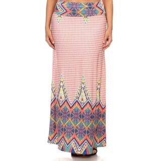 MOA Collection Plus Size Border Print Skirt