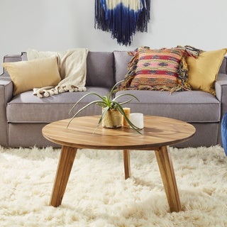 Canton Round Acacia Wood Coffee Table by Christopher Knight Home