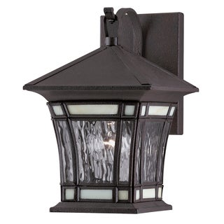 Westinghouse 6486400 Textured Rust Exterior Wall Lantern With Tiffany Accents