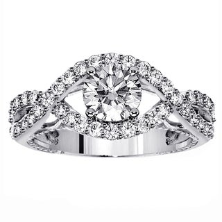 14k White Gold 1 1/3ct TDW Shared Prong-set Crossover Diamond Engagement Ring