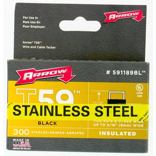 "Arrow Fastener 591189BLSS 5/16"" Black T59 Insulated Staples"