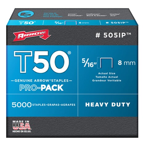 "Arrow Fastener 505IP 5000-count 5/16"" T50 Staples"