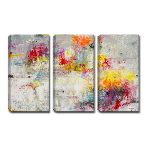 'Day in the Sun' 3-Pc Wrapped Canvas Abstract Art Set