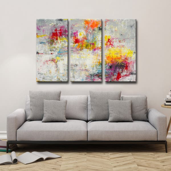 Day In The Sun 3 Pc Wrapped Canvas Abstract Art Set