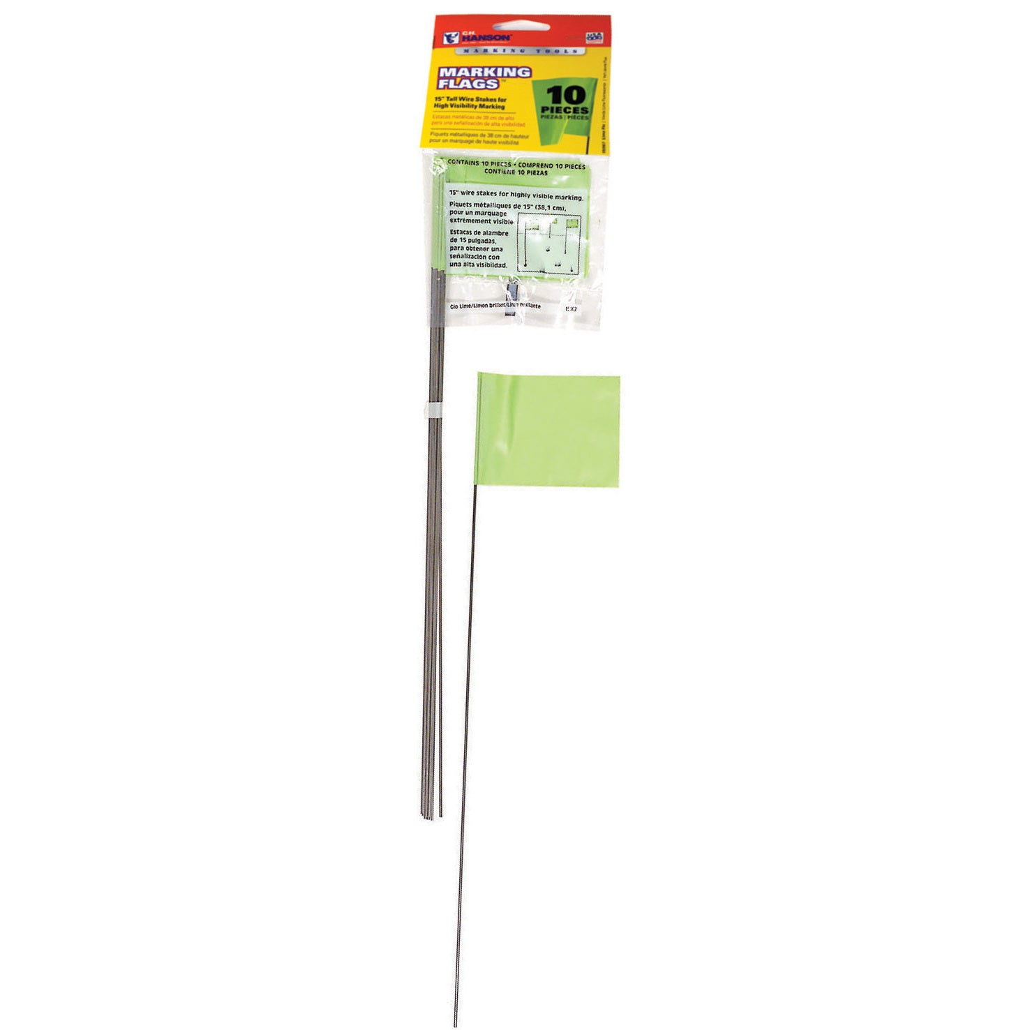 CH Hanson 15067 10 Pack Lime Marking Flags (Various tools)