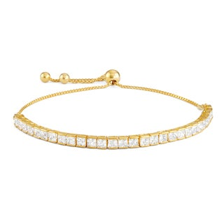 Gioelli Gold over Silver Cubic Zirconia Adjustable Bracelet