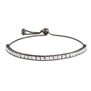 Gioelli Black over Silver Cubic Zirconia Adjustable Bracelet